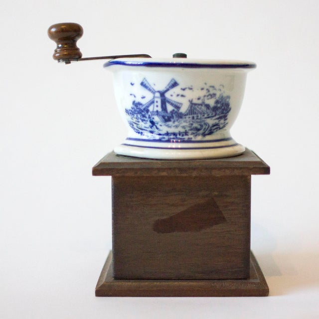Antique Coffee Mill with Ceramic Bowl For Sale - Image 5 of 5