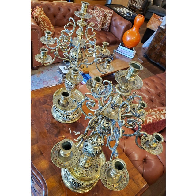 19th Century Russian Brass Candelabra Candleholders - a Pair For Sale In Washington DC - Image 6 of 10