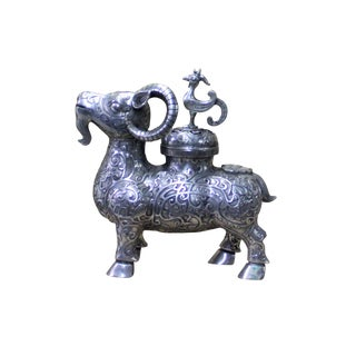 Chinese Artistic Silver Color Mixed Metal Ram Incense Holder Decor Figure For Sale