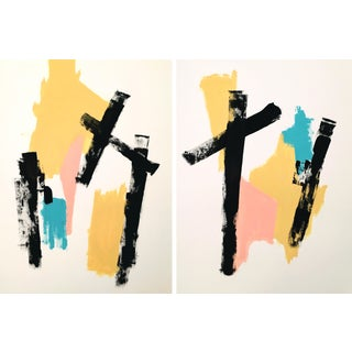 "Ilana Greenberg Abstract ""Limbo Diptych"" Paintings - A Pair For Sale"