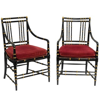 1960s Vintage Faux Bamboo Wood Armchairs- a Pair For Sale