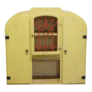 Late 20th Century Art Deco Yellow Painted Wooden Cabinet Hutch For Sale