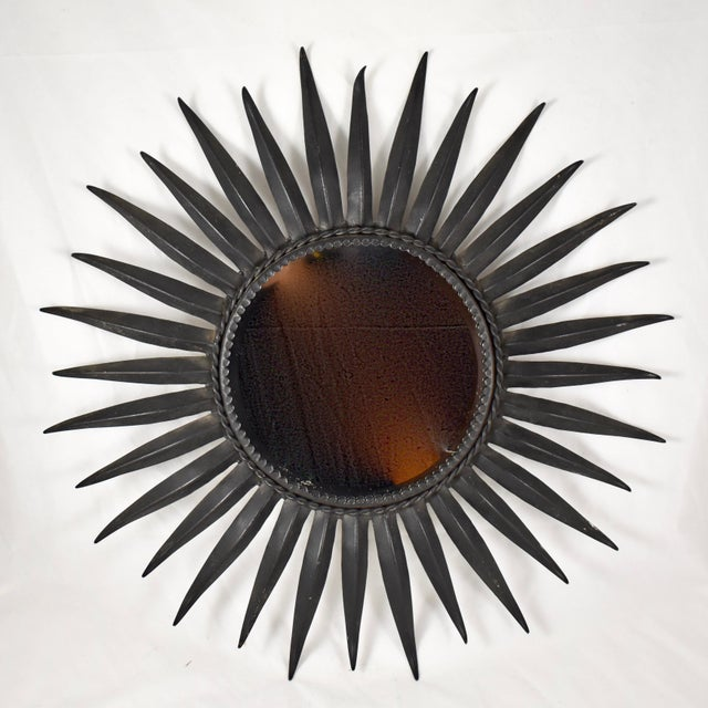 French Mid-Century Black Wrought Iron Tapered Ray Sunburst Wall Mirror For Sale - Image 13 of 13