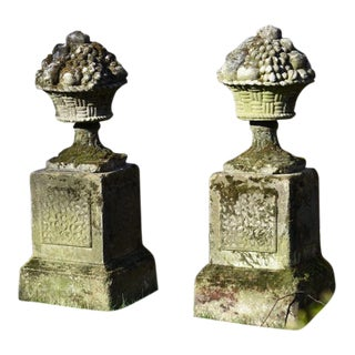 Fruit Basket Finials on Pedestals For Sale