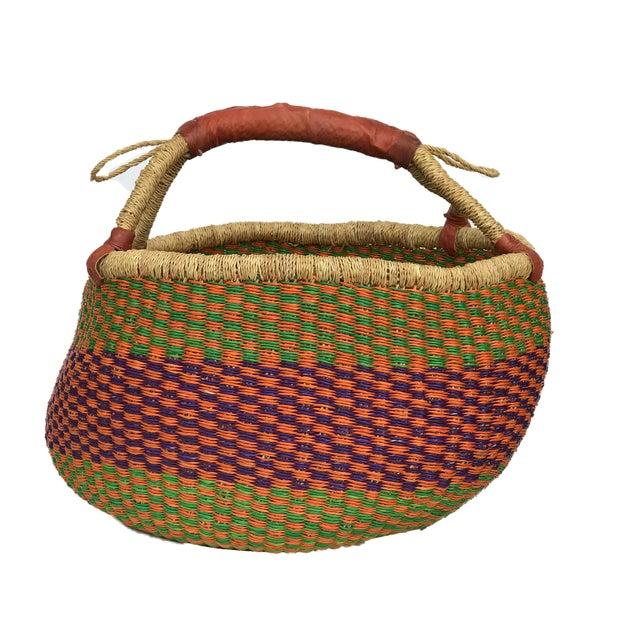 Large African Bolga Ghana Market Basket For Sale - Image 4 of 7