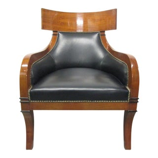 Leather Biedermeier Style Lounge Chair