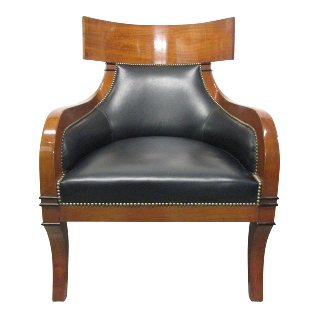 Leather Biedermeier Style Lounge Chair - Image 1 of 8