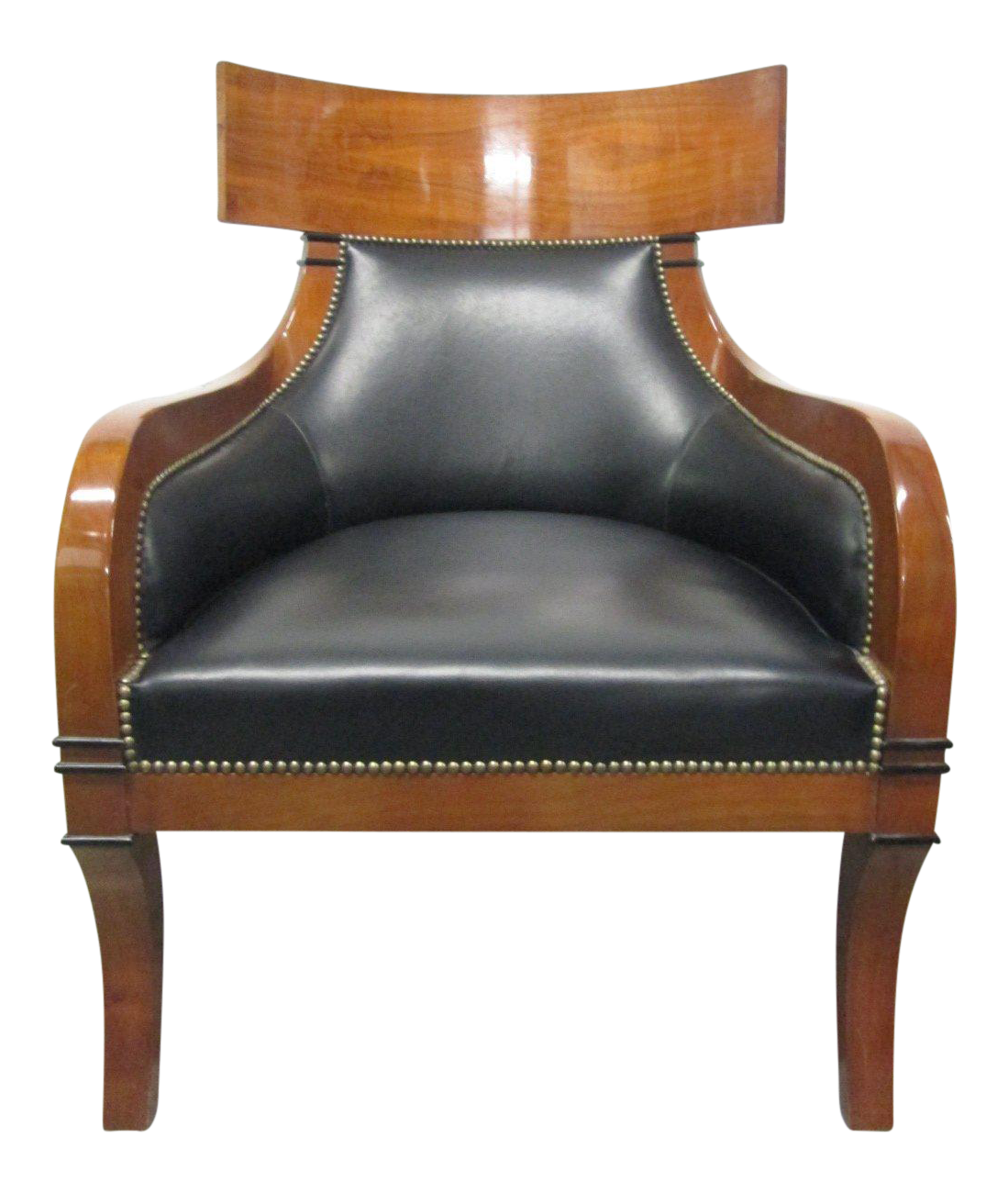 Superior Leather Biedermeier Style Lounge Chair   Image 1 Of 8