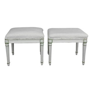 Pair of Louis XVI Style White Painted Footstools For Sale