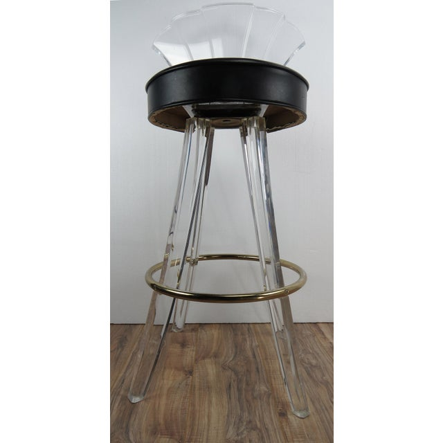1970s Vintage Charles Hollis Jones Style Lucite Bar Stool For Sale - Image 11 of 13
