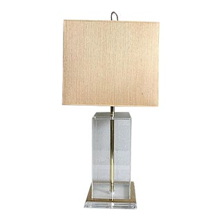 Italian Modern Lucite Lamp & Shade For Sale
