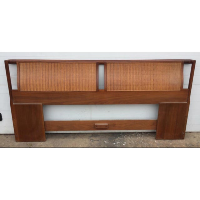 Mid-Century Modern Drexel Mid-Century Walnut & Cane King Size Headboard For Sale - Image 3 of 6