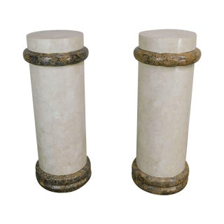 Comitia Molina Tessellated Travertine & Marble Pair Column Pedestals For Sale
