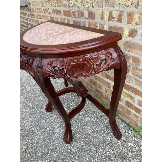 20th Century Traditional Marble Top and Carved Mahogany Demilune Table For Sale - Image 4 of 13