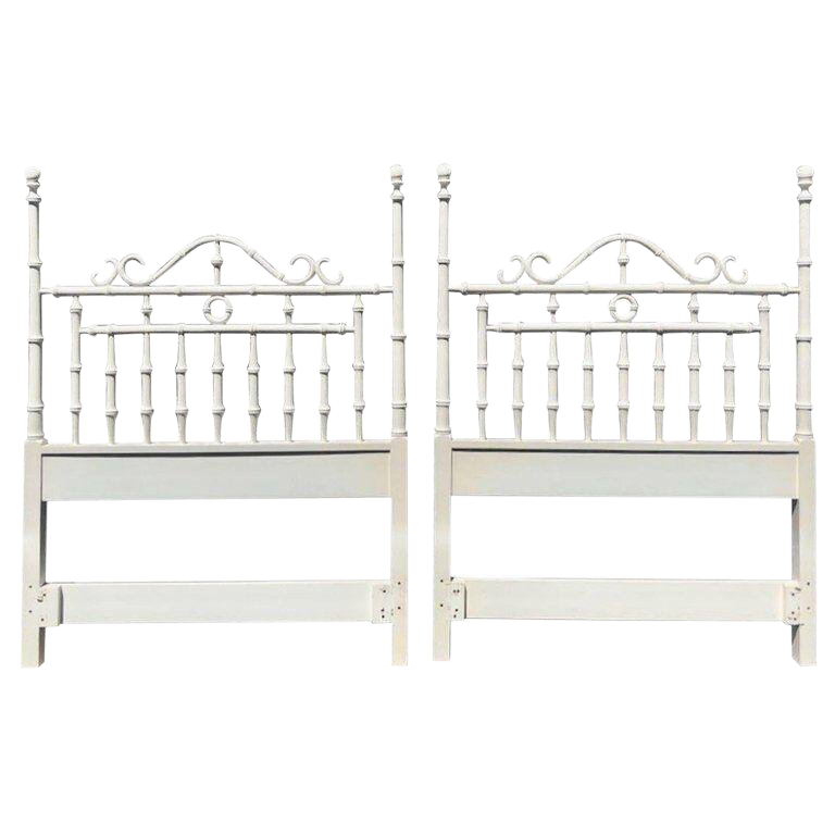 Pair Of Faux Bamboo Carved Wood Twin Headboards In White Chairish