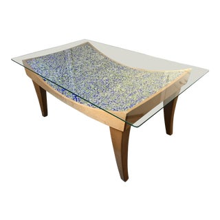 Artist-Crafted Glass Top Concave Coffee Table