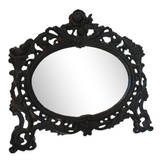 Antique Black Iron Table Mirror For Sale