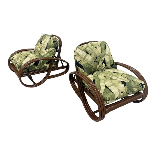 Reupholstered Palm Rattan Pretzel Lounge Chairs For Sale