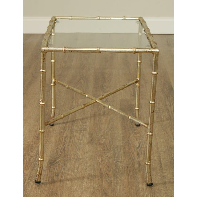 Hollywood Regency 1960's Silver Gilt Metal Faux Bamboo Glass Top Side Table For Sale In Philadelphia - Image 6 of 11