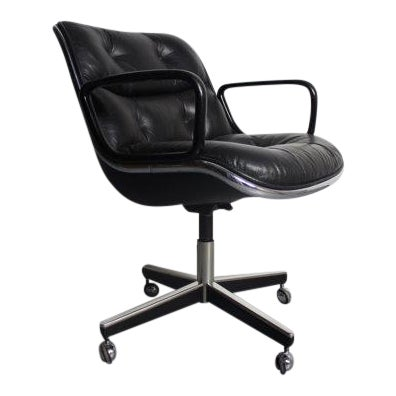 Knoll Black Vinyl Office Chair - Image 1 of 5