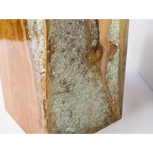 Wood Organic Teak Wood and Cracked Resin Cube Table For Sale - Image 7 of 10