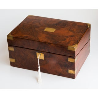 Antique 19th Century English Walnut & Brass Box, Lock & Key Preview