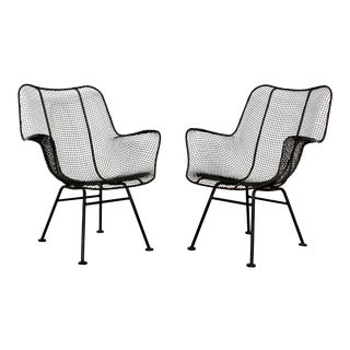 Woodard Mid-Century Modern Black Sculptura Outdoor Patio Armchairs - a Pair For Sale