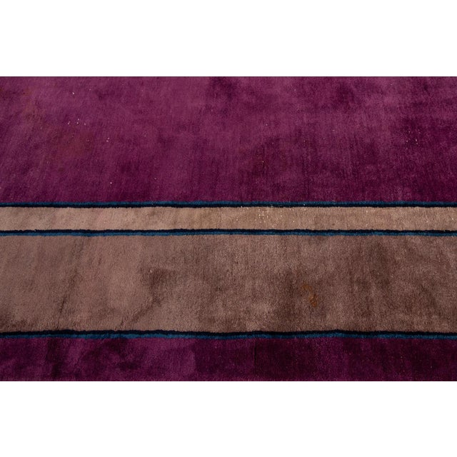 Antique Purple Chinese Mandarin Wool Rug 9 Ft 9 in X 16 Ft 3 In. For Sale In New York - Image 6 of 11