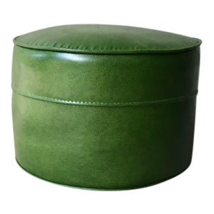 1960s Vintage Green Leather Stool
