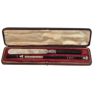 Antique Leather Cased Three-Piece Sterling and Agate Writing Set For Sale