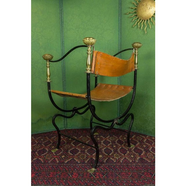 Metal 20th Century Italian Iron Campaign Chair For Sale - Image 7 of 11