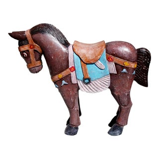 """Vintage Primitive """"Carousel Horse"""" Seat Hand Carved/Hand Painted Wood Horse Seat For Sale"""