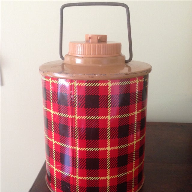 Vintage Plaid Metal Cooler Thermos - Image 8 of 11