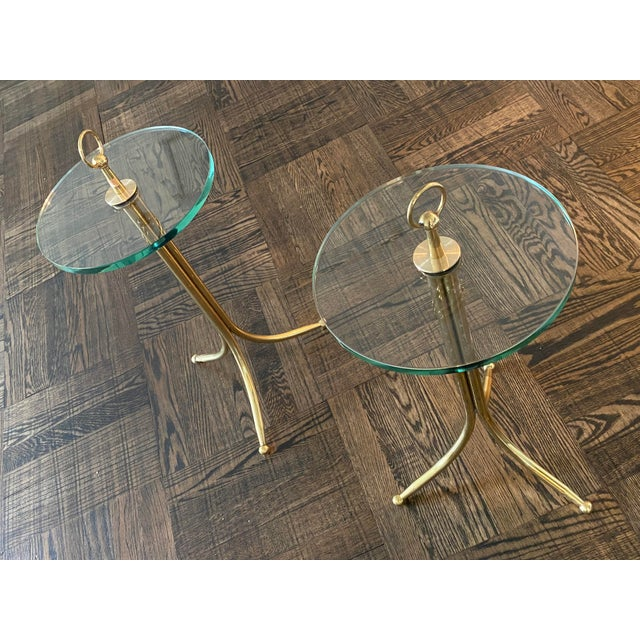 Cesare Lacca 1950s Cesare Lacca Brass and Glass Drinks Tables - a Pair For Sale - Image 4 of 11