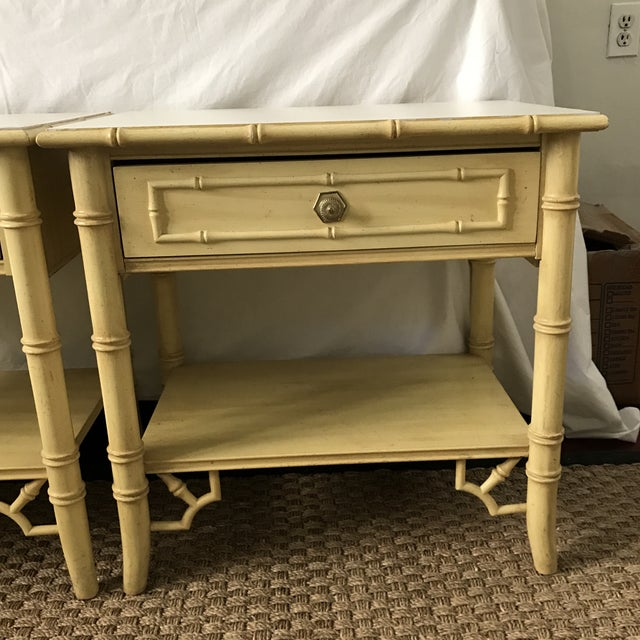 Thomasville Thomasville Faux Bamboo Hollywood Regency Nightstands-a Pair For Sale - Image 4 of 9
