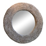 Image of Rattan White Washed Round Wall Mirror For Sale