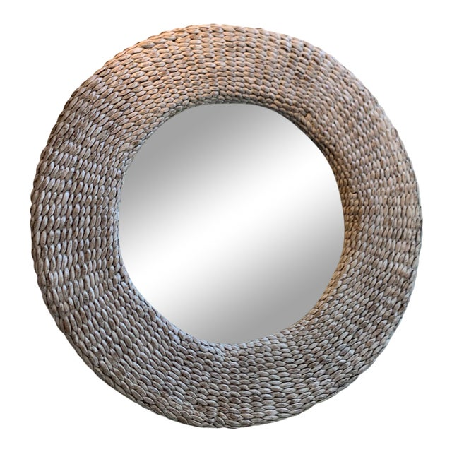 Rattan White Washed Round Wall Mirror For Sale
