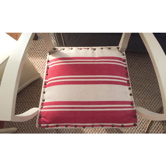 Pair, 1930's French ArmChairs, Red Stripes - Image 6 of 10