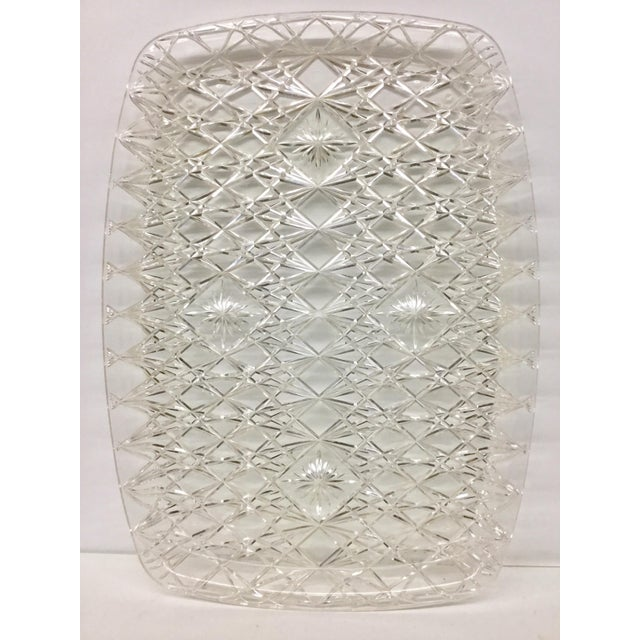 Large Vintage Clear Carved Lucite Serving Tray For Sale - Image 12 of 13