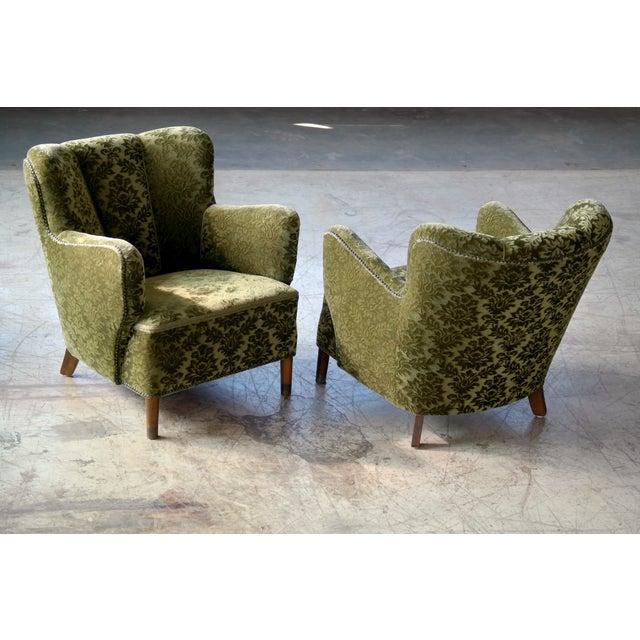 Pair of Danish 1940s Fritz Hansen Model 1669 Style Lounge Chairs For Sale - Image 10 of 11