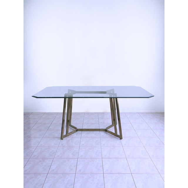 Mastercraft Mid-Century Modern Mastercraft Space Age Brass & Glass Dining / Conference Table For Sale - Image 4 of 8
