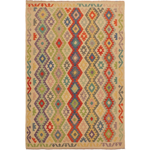 Ivory Shabby Chic Sylvie Ivory/Rust Hand-Woven Kilim Wool Rug -6'7 X 9'8 For Sale - Image 8 of 8