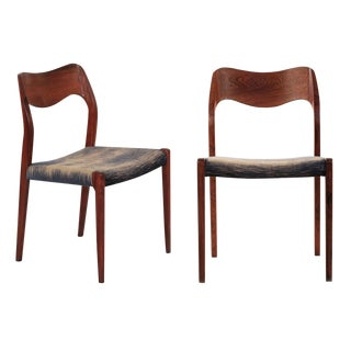 Pair of Niels Møller Rosewood Model 71 Side Chairs For Sale