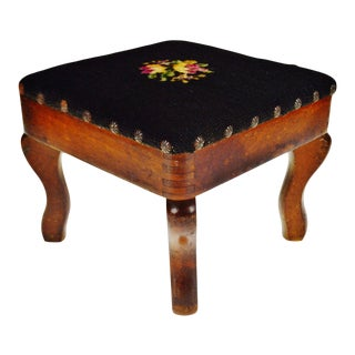 Antique Needlepoint Foot Stool For Sale