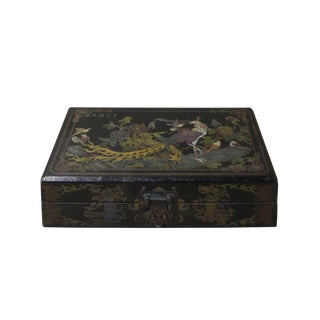 Chinese Distressed Black Birds Graphic Rectangular Shape Box For Sale