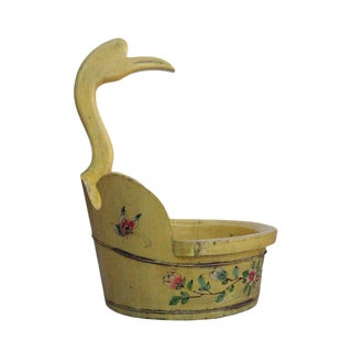 Chinese Yellow Flower Duck Shaped Wood Bucket For Sale