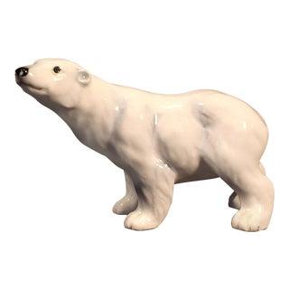 Vintage Hand Painted Porcelain Polar Bear Figure For Sale