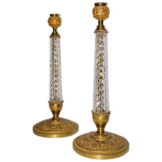 Louis XVI Style Bronze and Faceted Crystal De Sevres Candlesticks - a Pair For Sale