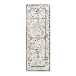 Peyton Monte Traditional Oriental Cream Runner Rug - 3' x 8' For Sale