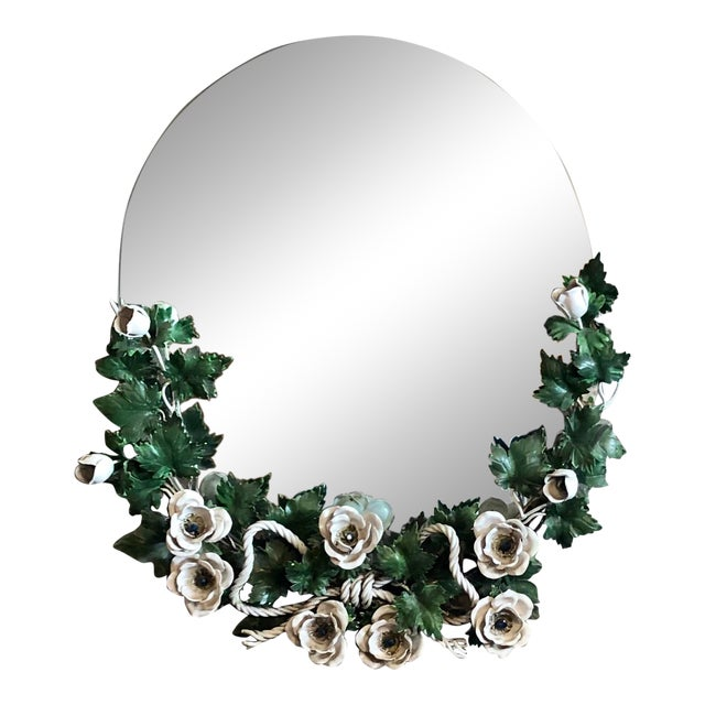 Vintage 1940s Round Hollywood Regency Tole Wall Mirror For Sale